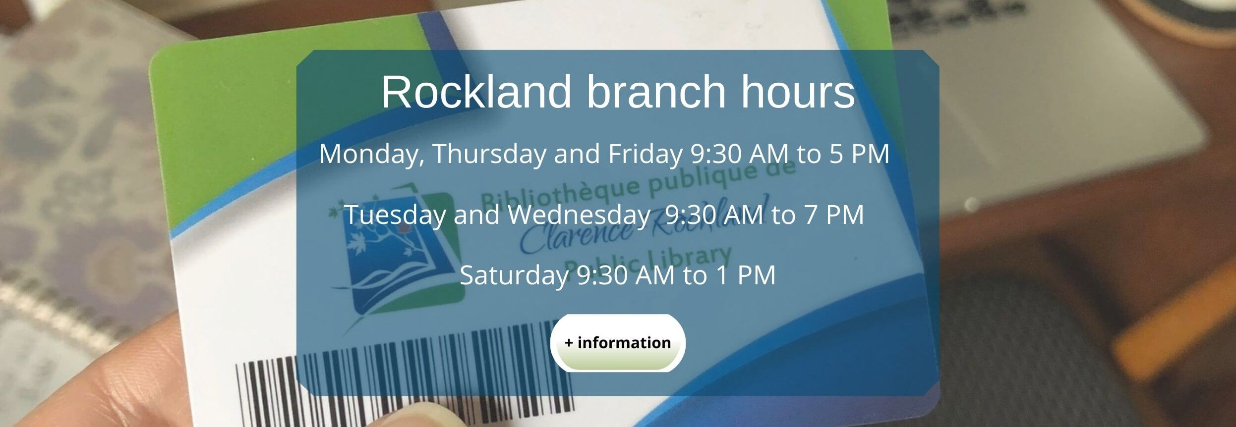 Rockland Branch Hours